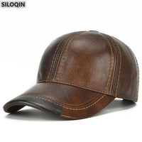 SILOQIN Quality Cowhide Trend Baseball Cap Adjustable Size Genuine Leather Hat For Men Autumn Winter Brand Sports Caps Casquette