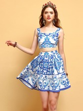 Baogarret Casual Holiday Summer Skirts Suits Womens Blue and white Floral Print Tops Vacation Skirt 2 Two Pieces Sets