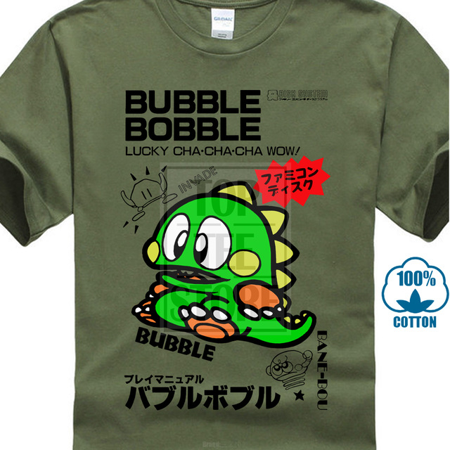T Shirt Commodore C64 Amiga Game Gamer Gaming Bubble Bobble Cult Vintage Retro Mens T Shirt Couple Casual O Neck image