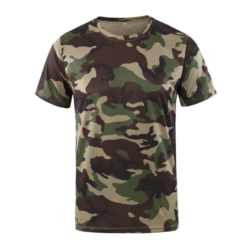 Militar tático t camisa masculina verão secagem rápida respirável o pescoço manga curta de fitness topos algodão camuflagem combate t camisas - 5