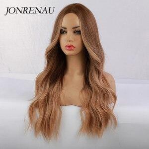 Image 2 - JONRENAU סינטטי Ombre חום כדי זהב בלונד פאה ארוך טבעי שיער פאות עבור לבן/שחור נשים מסיבת או יומי ללבוש