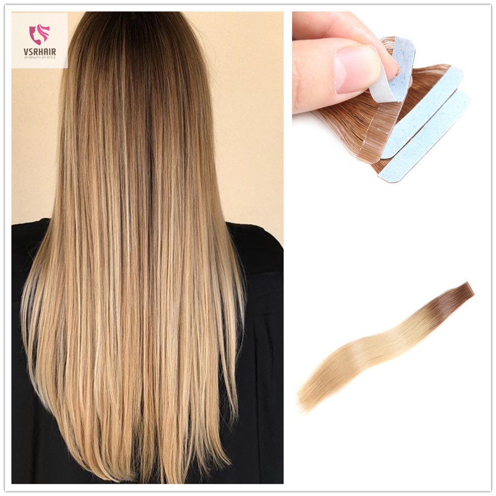 VSR Remy Tape In Human Hair Extensions Ombre Color Seamless Blonde European Hair Extension