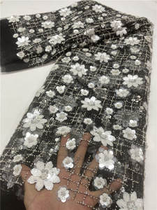 Lace-Fabric Sequins Tulle Dubai French African High-Quality Handmade NI4343-10