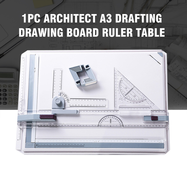 2019 1PC Architect A3 Drafting Drawing Board Ruler Table Adjustable Angle Tool Set Measuring Gauging Tools Plotters Protractor