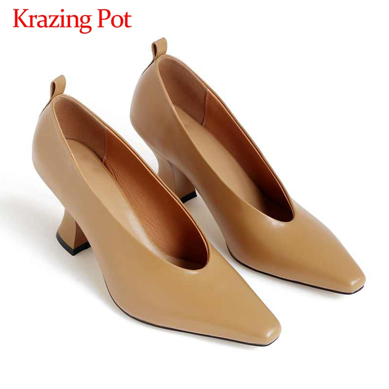 Krazing Pot Brand Simple Style Genuine Leather Loafers Fashion Small Square Toe Med Heels Slip On Spring Daily Wear Pumps L01