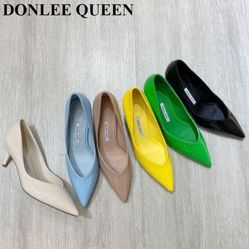 Fashion Pointed Toe Thin Heels 5cm Pumps Women Candy Color Shallow Shoes Women Female Office Ladies Work Shoes Wedding Chaussure women pumps block heels 5cm pointed toe classic ladies chunky heels fashion female office shoes women