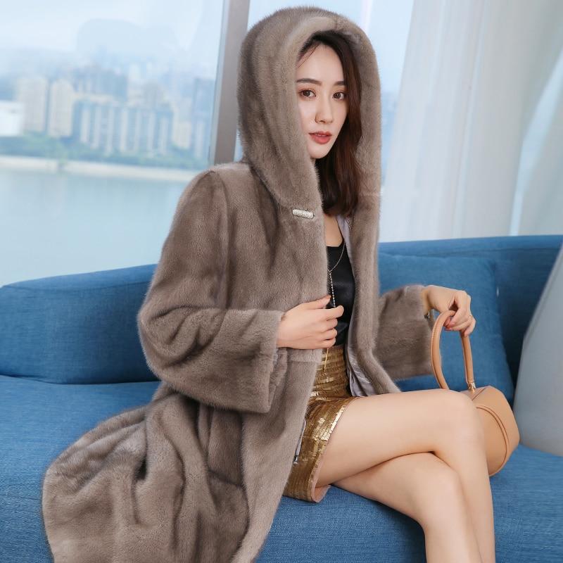 Mink coat hooded women's 2019 new long section youth thickening warm luxury fur coat women's lapel coat