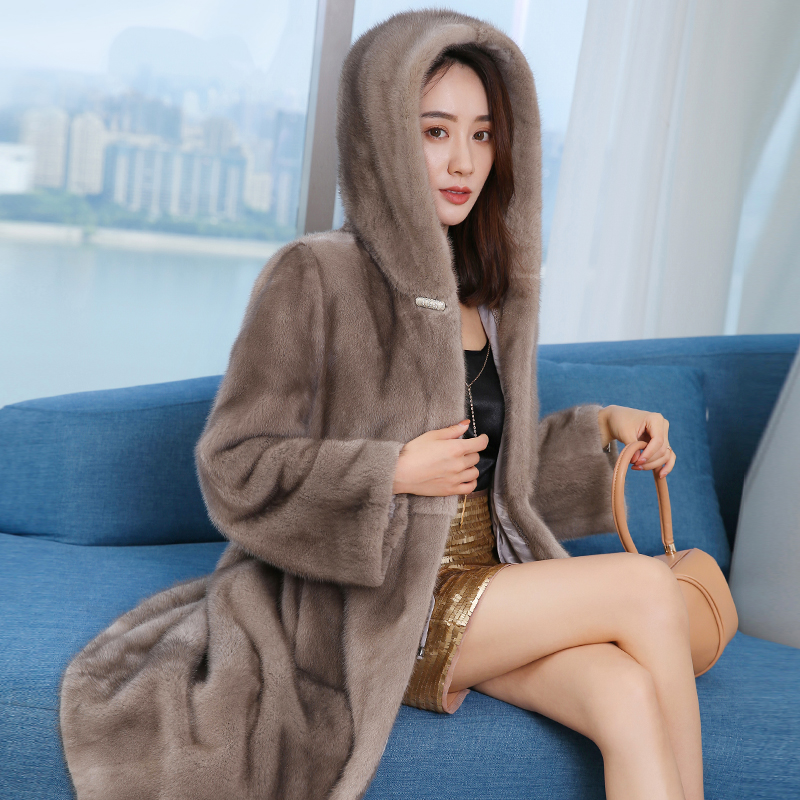 Vison manteau à capuche femmes 2019 nouvelle longue section jeunesse épaississement chaud luxe fourrure manteau femmes revers manteau