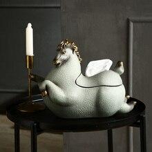 Caja de pañuelos para el hogar de lujo europeo, decoración creativa caballo para el hogar, mesita para café de sala de estar, bandeja para dormitorio
