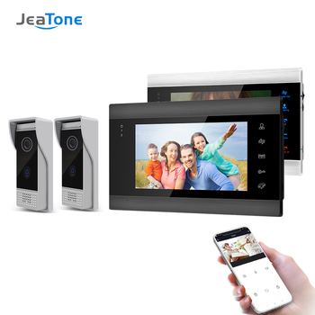 Jeatone 7 Inch Wireless Wifi Smart IP Video Door Phone Intercom System with 2 Night Vision Monitor + 2 Rainproof Doorbell Camera tmezon 7 inch tft wired smart video door phone intercom system with 2 night vision monitor 2x1200tvl rainproof doorbell camera
