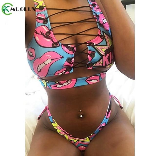 Bikini 2020 Sexy Push Up New African Print Thong Lace Up Swimwear Biquini Bathing Suit Swimsuit Women 2 Pieces Bikini Brasileño