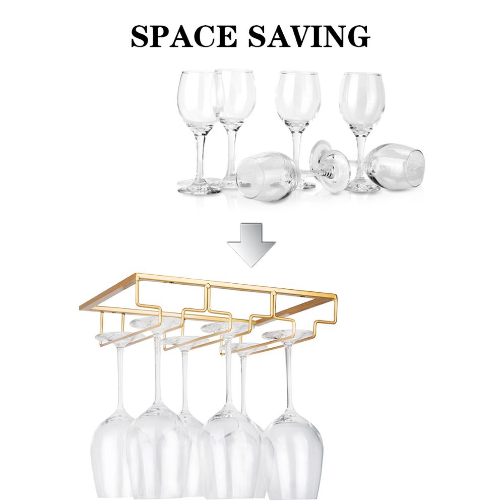 Wine Glass Rack - Under Cabinet Stemware Wine Glass Holder Glasses Storage Hanger Metal Organizer for Bar Kitchen Gold Bar Table