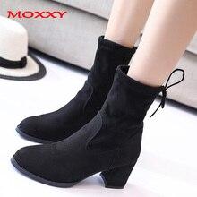 2019 New Sexy Ladies High Heel Black Boots Women Suede Platform Ankle Boots Fashion Autumn Shoes Woman Lace Up zapatos de mujer цена в Москве и Питере