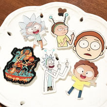 Wholesale 6Pcs Party Gifts Child Clothing Handbags Decoration Crazy Scientist Rick And Morty Brooches Fashion Pins(China)
