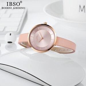 Image 4 - IBSO kobiety zegarek kwarcowy proste wodoodporny zegar godzin moda Montre Femme panie skóra Quartz zegarek wodoodporny
