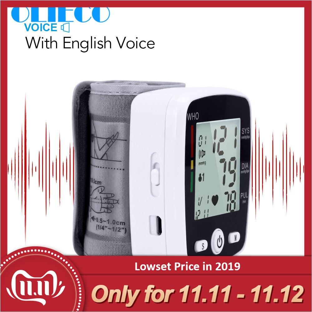 OLIECO Automatische Sprach Handgelenk Digitale Blutdruck Monitor Tonometer Meter USB Ladung Handgelenk OLI-W355 Deutschland Chip LCD Display