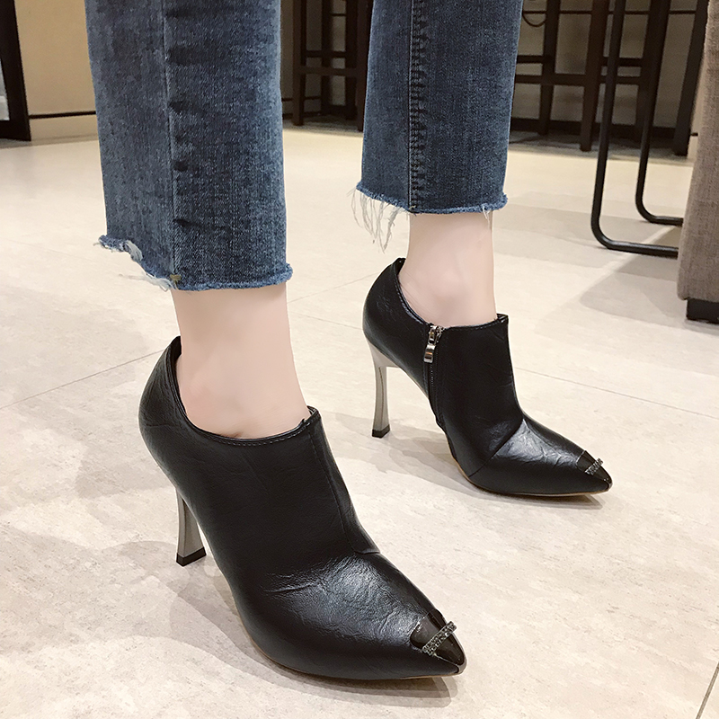 Size 35-40 2019 New Ankle Rain Boots Women Autumn Elegant Metal & Crystal Shoes Woman 10cm Sky High Heels Sexy Ladies Dress Boot 58