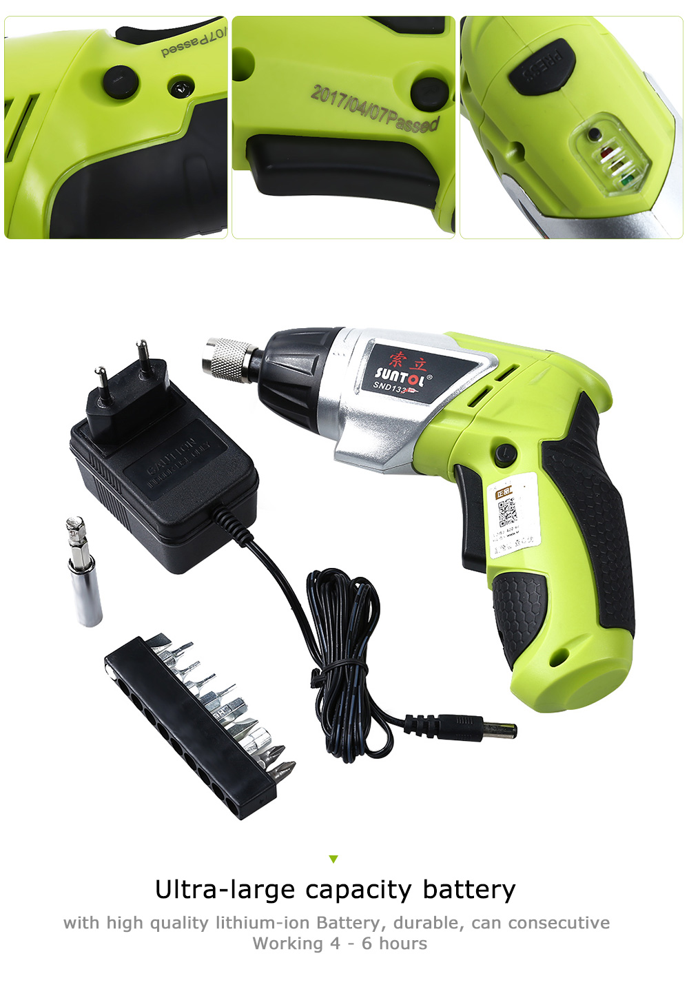 Heacdba5126324ec8a2e6e9f7bb83ea46k - 3.6V Rechargeable Battery Cordless Electric Drill Screwdriver with Bits Set
