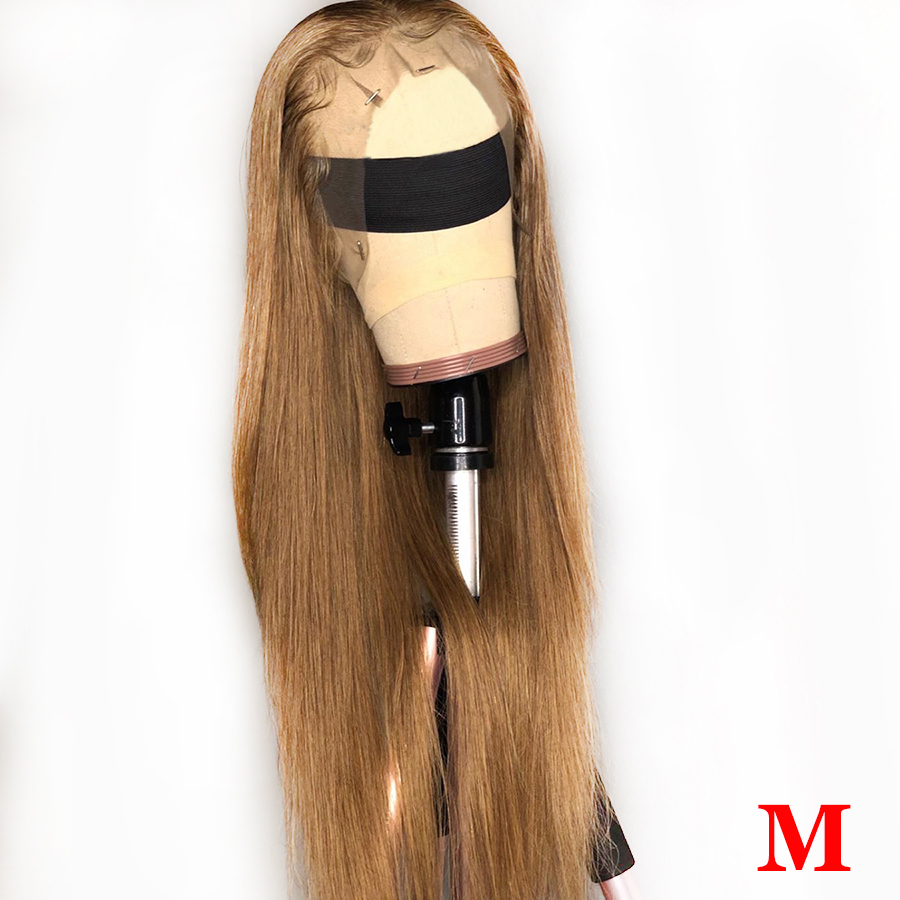 27# 13*6 Lace Front Human Hair Wigs Honey Blonde Lace Front Wigs Medium Ratio Pre Plucked Straight Human Hair Wig Brazilian Remy