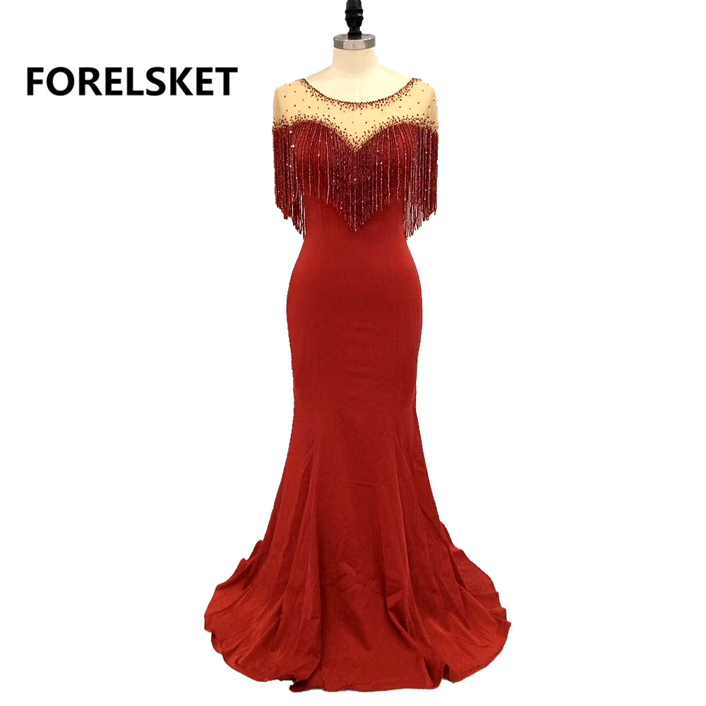 Red Mermaid Dubai Prom Dresses Long 2020   Illusion Beaded Robe De Soir E Vestidos De Fiesta De Noche Sirena