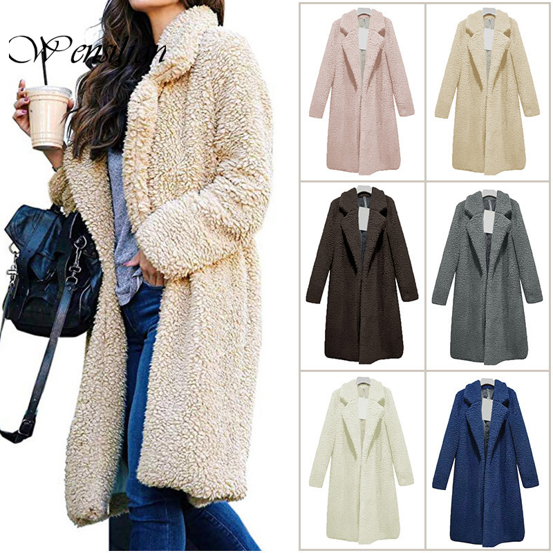 Spring Autumn Teddy Coat Women Long Jackets Office Lady Women Wool Blends Fleece Fur Coats Plus Size Wool Coat Chaqueta Mujer