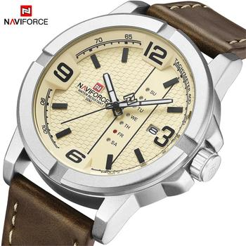 2020 Luxury Brand NAVIFORCE Date Week Quartz Watch Men Casual Military Sports PU Leather Wristwatch Male Relogio Masculino Clock guanqin brand luxury sports men wristwatches male leather strap business quartz watch casual clock hour date week montre homme
