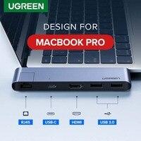 Ugreen-concentrador de red USB tipo C Dual, adaptador de puertos USB 3,0, 4K, HDMI, RJ45, Air para MacBook Pro Thunderbolt 3, 3,1
