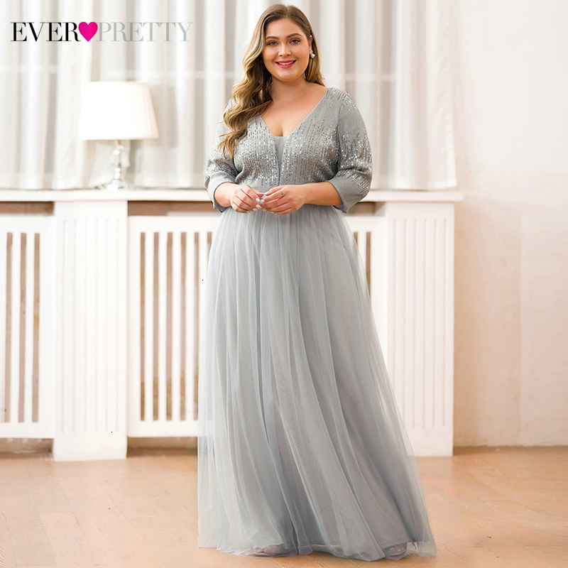 Plus Size Evening Dresses Long Ever Pretty A-Line Deep V-Neck 3/4 Sleeve Sequined Tulle Sexy Grey Formal Party Gowns Vestido