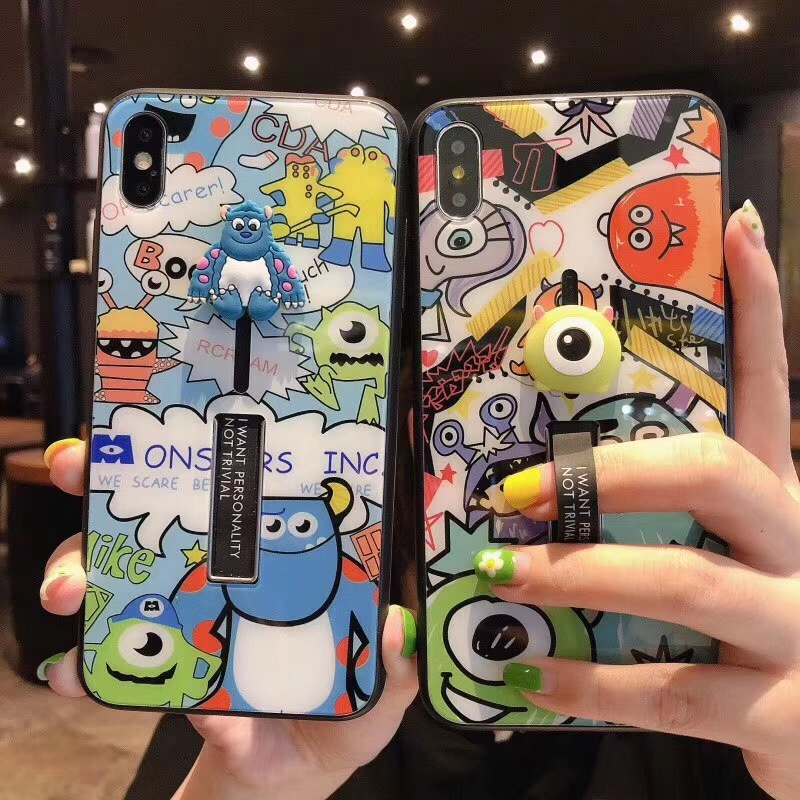 Cute Cartoon Toy Story Mike glass cover case for iphone 6 6S 7 8 plus X XS XR Max hide ring stand holder silicone phone couqe