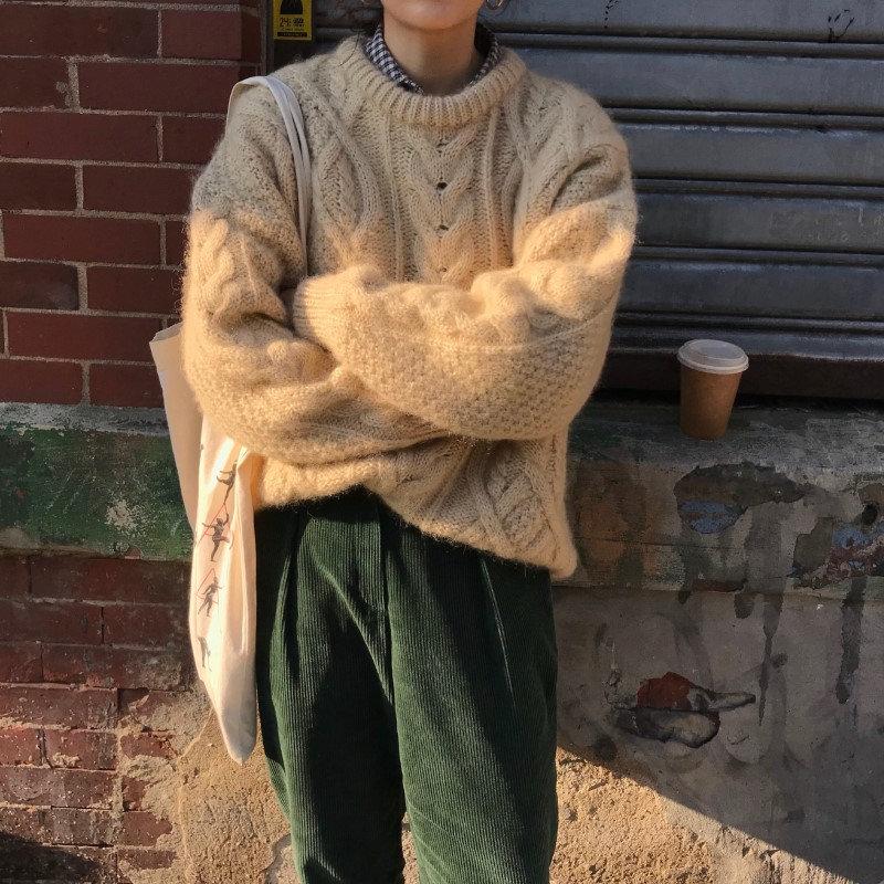 Alien Kitty-Tops de oficina trenzados gruesos Vintage para mujer, jerséis holgados elegantes de albaricoque, suéter informal de punto para chicas