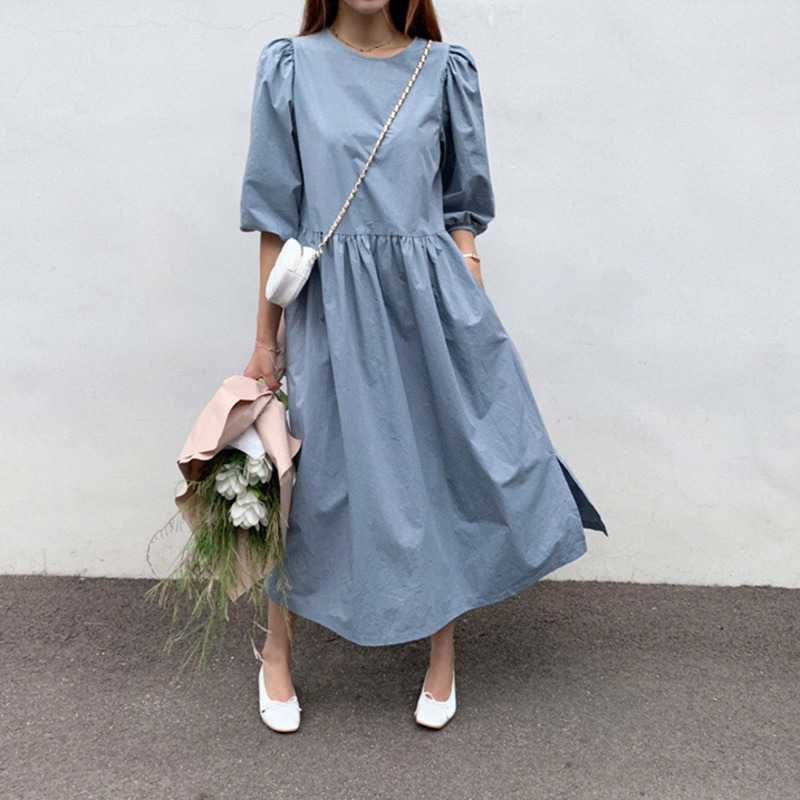 LANMREM Can Ship 2020 Spring Summer Fashion New Vintage Women's Clothes Loose Lantern Sleeve Dress Temperament Longuette YJ054
