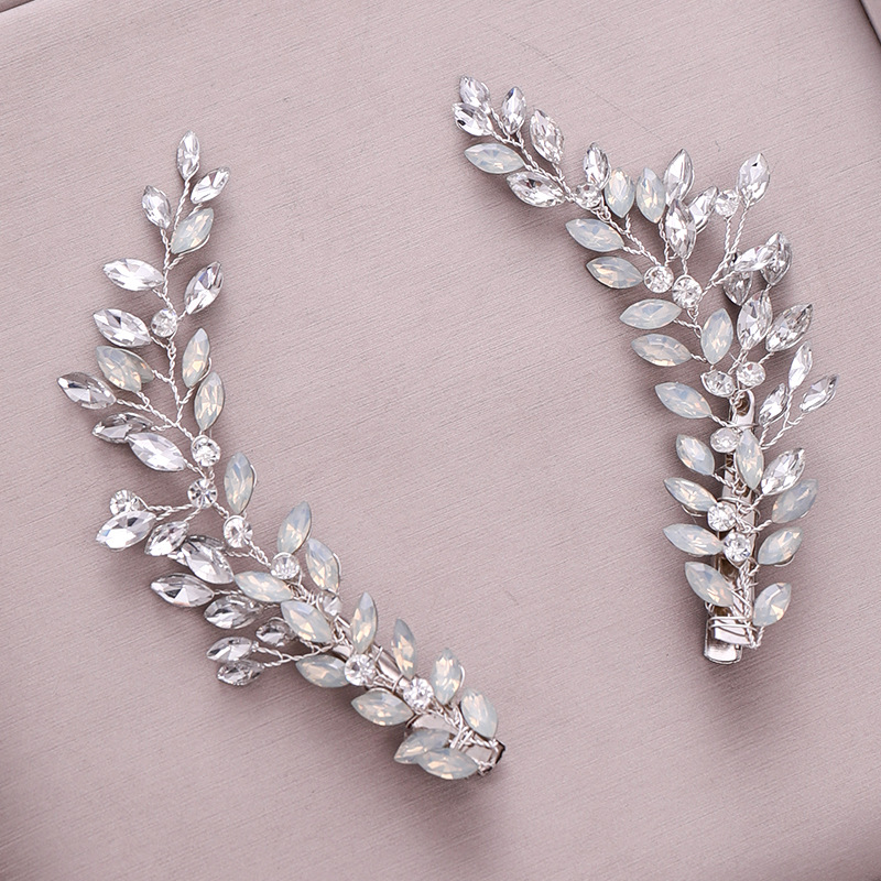 Bridal Hair Band 2019 New European And American Hot Selling Crystal Leaves Wedding Dress Tiara Hairpin Head Jewelry