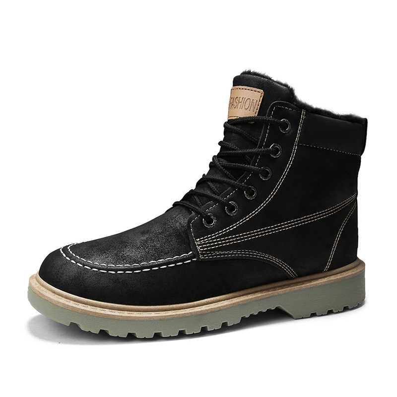 Aodlee Mannen Laarzen Pluche Warme Mode Heren Winter Sneeuw Enkel Chelsea Laarzen Hoge Top Casual Schoenen Mannen Lederen Schoenen Botas hombre
