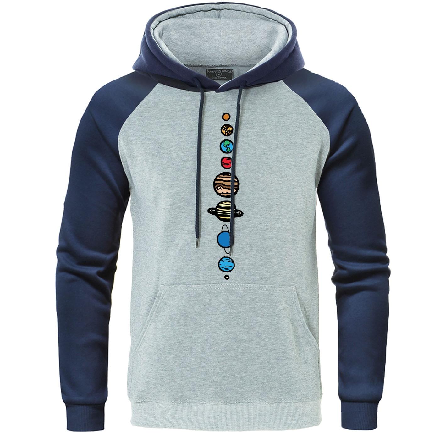 Universe Solar System Autumn Hoodies Raglan Sweatshirt Men Planets Colour Vintage Harajuku Streetwear Nine Planets Mens Pullover