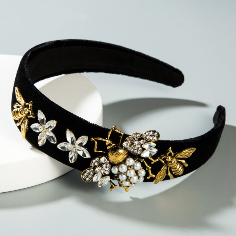Baroque Rhinestone Bee Model Women Headband Pearl Flower Luxurious Black Bezel Hairband Halloween Hair Accessories