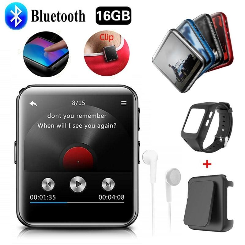 Bluetooth MP3 Player Touch Screen 8G 16G Clip MP3 Player for Running Jogging Supports FM Video Stopwatch for Kids and Adults