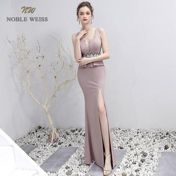 Sexy Prom Dress V-Neck Floor-Length Satin Beading Prom Dresses With Split Party Dress