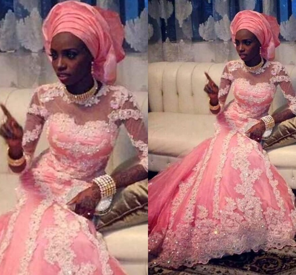 Arabic O Neck Long Sleeve Lace Appliques Pink Dubai Robe De Soiree Muslim Mermaid 2018 Evening Gown Mother Of The Bride Dresses