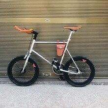 Piñón fijo de 20 pulgadas bicicleta de marcha única bicicleta Retro bicicleta fixie bicicleta vintage Marco de bicicleta mini vinbicycle con cesta plateada