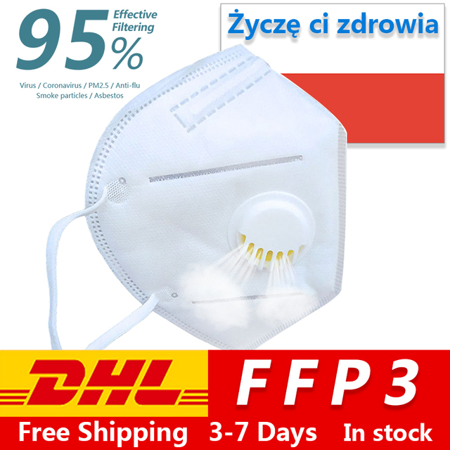 In stock Reusable FFP3 maseczka ochronna with Breathing Valve n95 Face Mask Anti-pollution Antibacterial Anti flu ffp3 maska