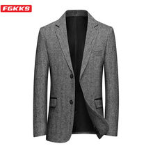FGKKS Autumn New Men Blazers Business Casual Men's Brand Woolen Jacquard Suit Jacket Solid Color Slim Fit Wild Blazers Male(China)