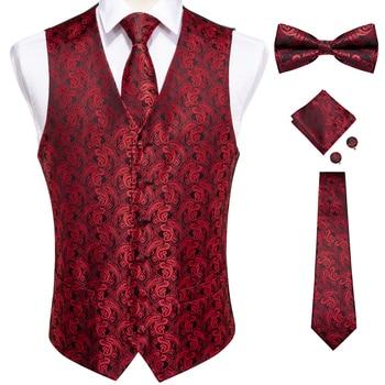 New Teal Green Paisley 100% Silk Formal Dress Vest Men Waistcoat Vest Wedding Party Vest Tie Brooch Pocket Square Set DiBanGu 15