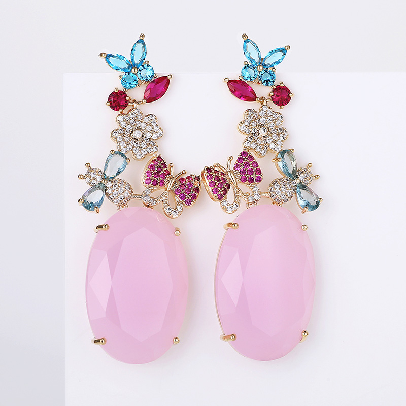 VERY GIRL Wedding Jewelry 62mm Big Pink Opal Stone Drop Earrings Vintage Butterfly Rhinestone Zircon Brincos Earrings in Drop Earrings from Jewelry Accessories