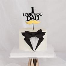 Feliz aniversário bolo bandeira eu amo papai aniversário festa de aniversário bolo toppers sobremesa decoração do bolo