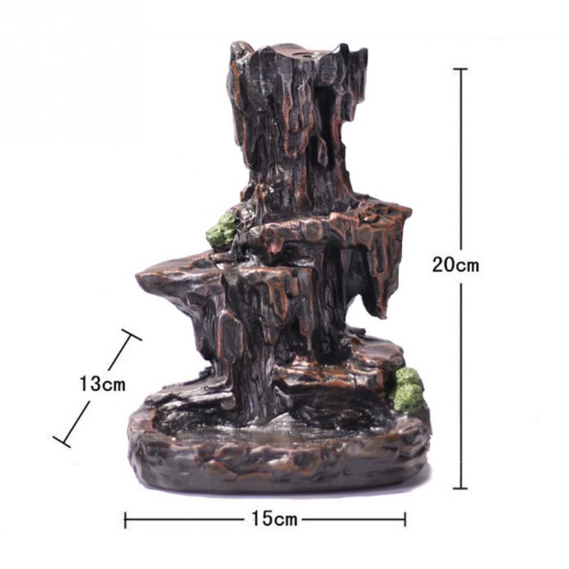 Office Resin Incense Burner Gift Exquisite Home Unique Crafts Waterfall Smoke Backflow Decoration Censer Holder Mountain River in Decorative Shelves from Home Garden