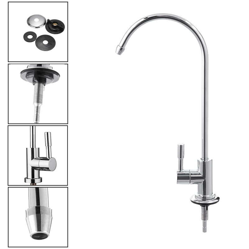1/4 Inch Chrome Drinking Water Filter Faucet Reverse Osmosis Sink Kitchen Tap