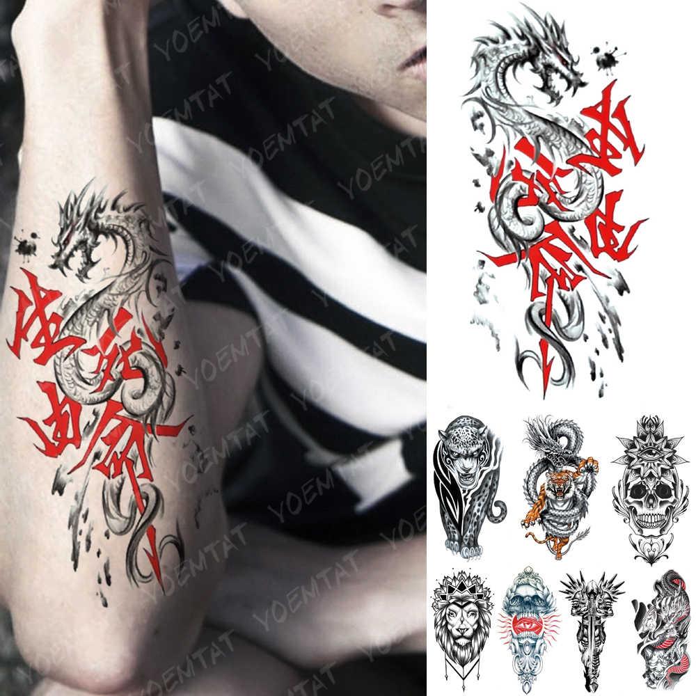 Impermeable A L Eau Temporaire Tatouage Autocollant Vie Et Mort Dragon Tatouages Chinois Tigre Lion Art Corporel Bras Faux Manches Tatoo Femmes Hommes Aliexpress