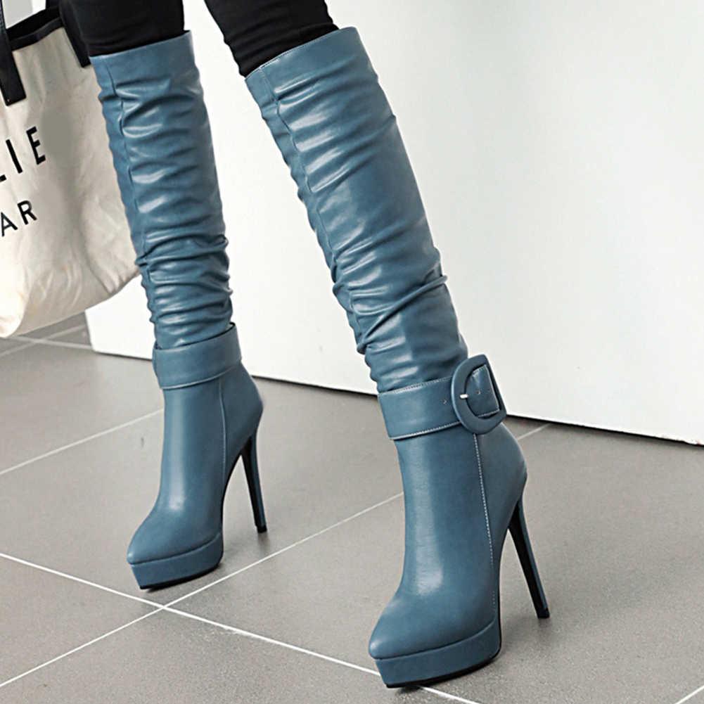 BONJOMARISA New 32-46 Bán 12 Cm Gót Giày Nữ Kẻ Sọc Sang Trọng Lịch Lãm Đầu Gối Giày Cao Cổ Nữ Cao Cấp 2019 gót Giày Người Phụ Nữ