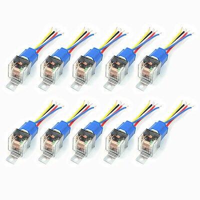 10 pièces voiture SPDT 5 broches 1NO 1NC vert indicateur relais céramique prise 80A 12V DC