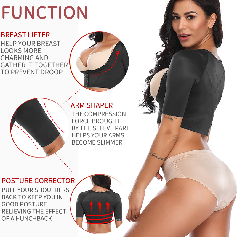 Upper Arm Shaper Post Surgical Slimmer Compression Sleeves Humpback Posture Corrector Tops Women Shoulder Shapewear Back Support